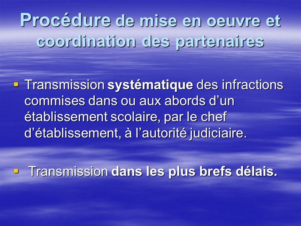 Procédure de mise en oeuvre et coordination des partenaires Transmission systématique des infractions commises dans ou aux abords dun établissement scolaire, par le chef détablissement, à lautorité judiciaire.