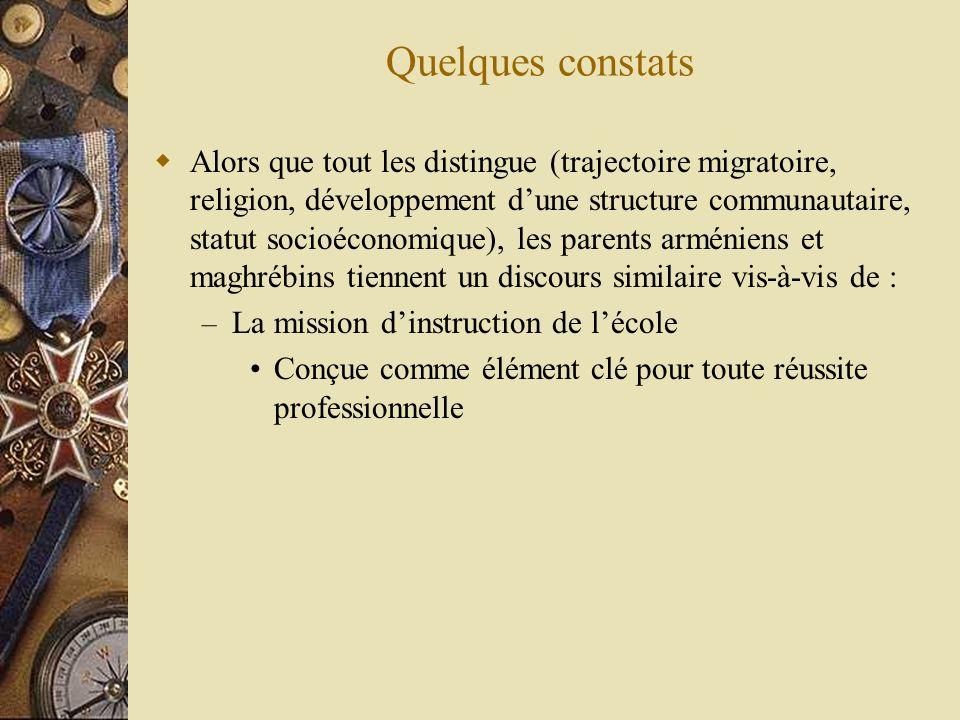 Quelques constats Alors que tout les distingue (trajectoire migratoire, religion, développement dune structure communautaire, statut socioéconomique),