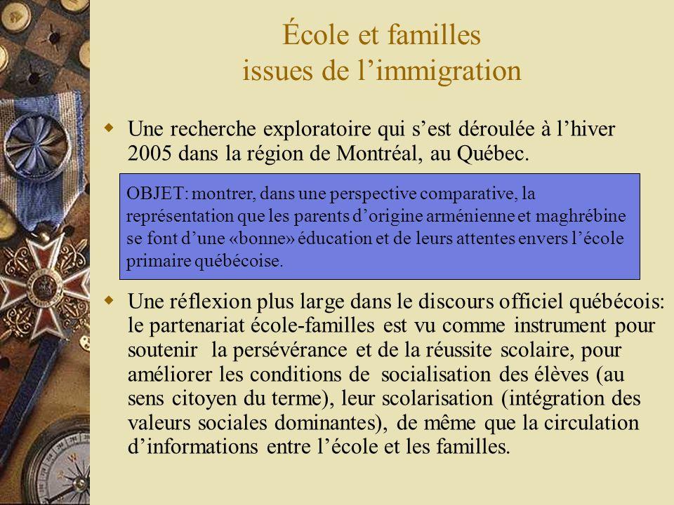 École et familles issues de limmigration Une recherche exploratoire qui sest déroulée à lhiver 2005 dans la région de Montréal, au Québec.