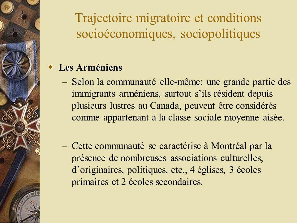 Trajectoire migratoire et conditions socioéconomiques, sociopolitiques Les Arméniens Les Arméniens – Selon la communauté elle-même: une grande partie des immigrants arméniens, surtout sils résident depuis plusieurs lustres au Canada, peuvent être considérés comme appartenant à la classe sociale moyenne aisée.