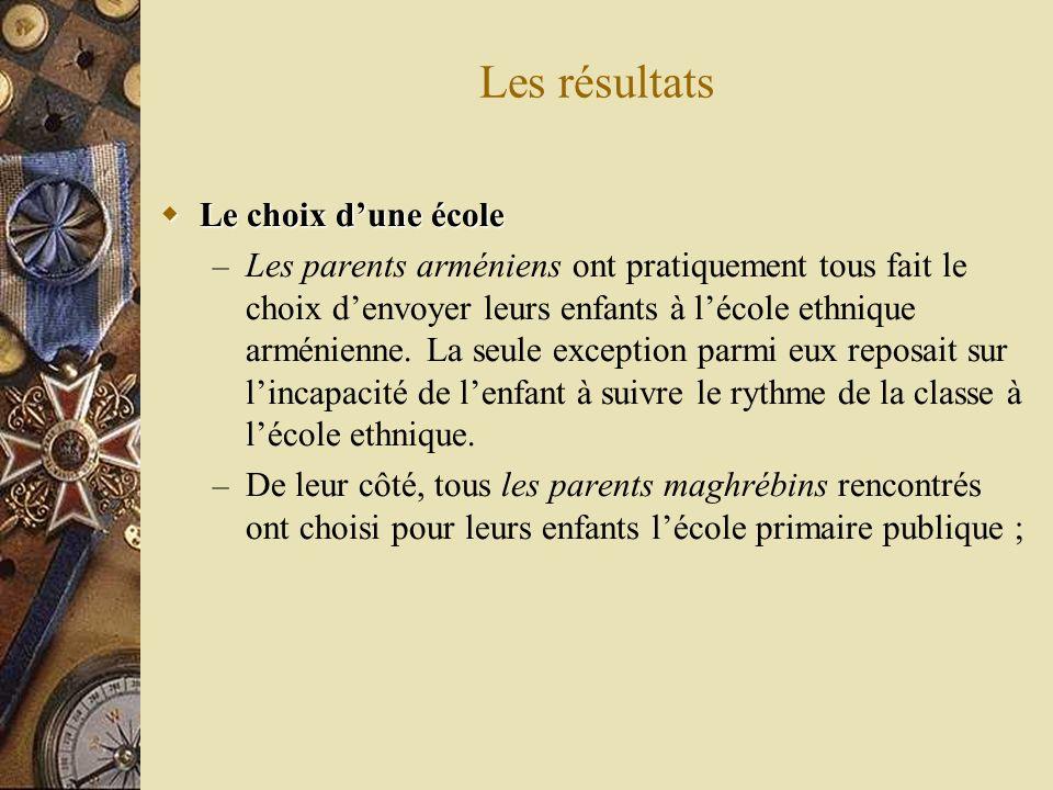 Les résultats Le choix dune école Le choix dune école – Les parents arméniens ont pratiquement tous fait le choix denvoyer leurs enfants à lécole ethnique arménienne.