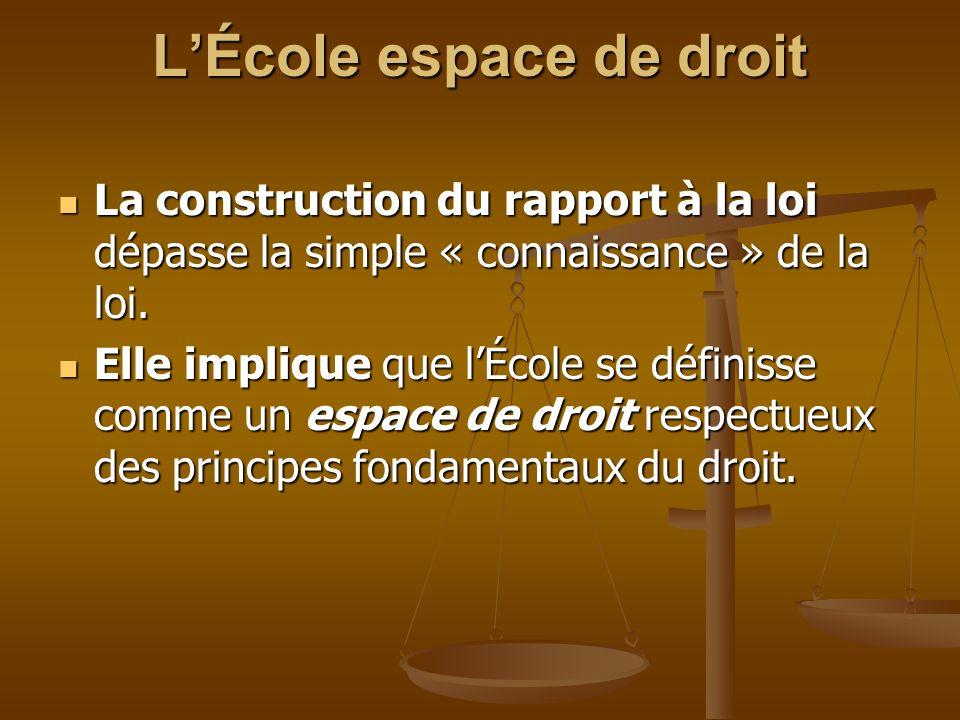 LÉcole espace de droit La construction du rapport à la loi dépasse la simple « connaissance » de la loi. La construction du rapport à la loi dépasse l