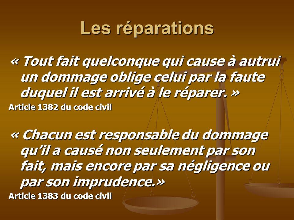 Les réparations « Tout fait quelconque qui cause à autrui un dommage oblige celui par la faute duquel il est arrivé à le réparer. » Article 1382 du co