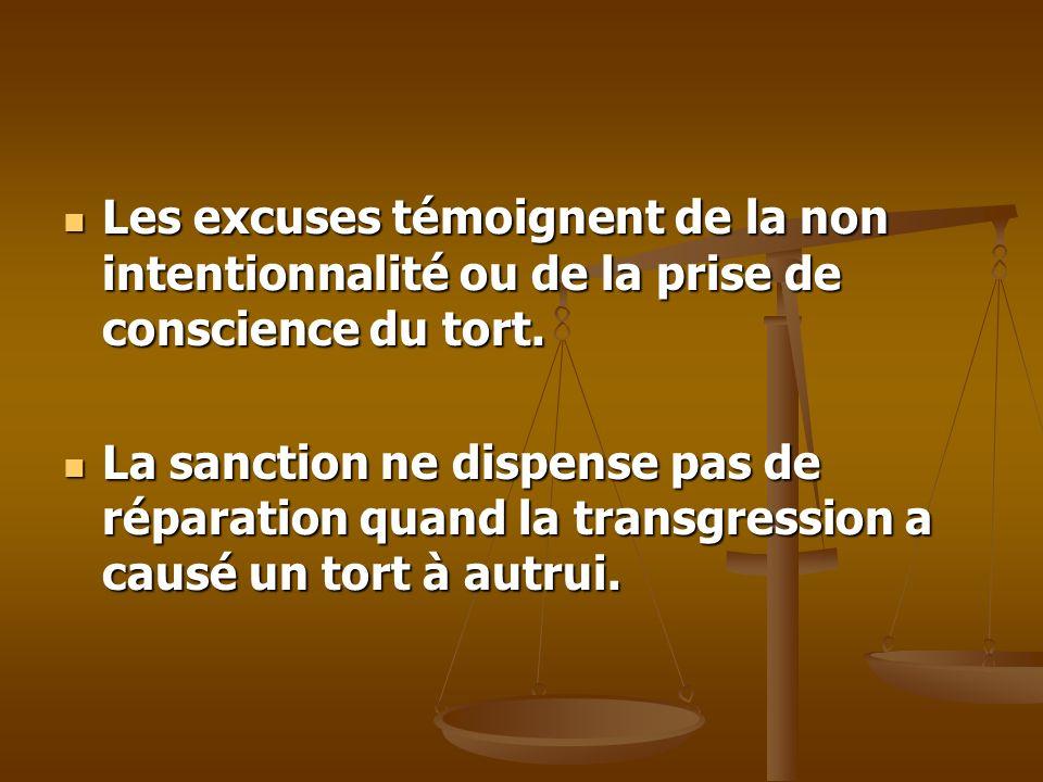 Les excuses témoignent de la non intentionnalité ou de la prise de conscience du tort. Les excuses témoignent de la non intentionnalité ou de la prise