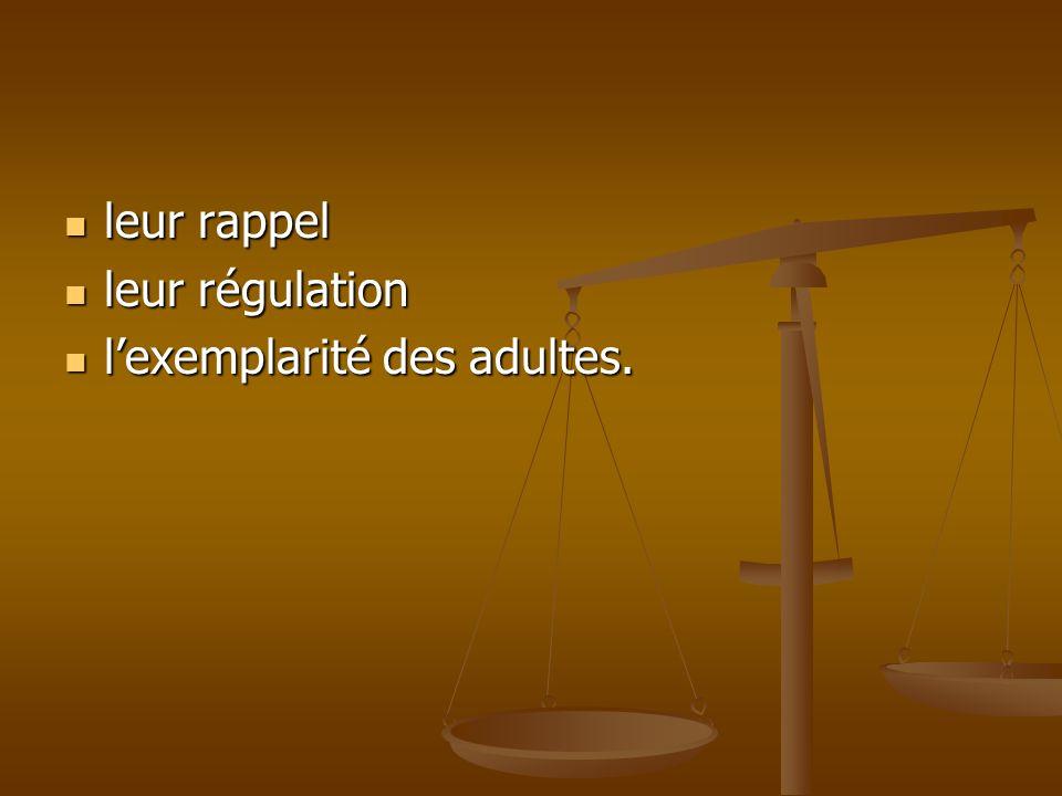 leur rappel leur rappel leur régulation leur régulation lexemplarité des adultes. lexemplarité des adultes.