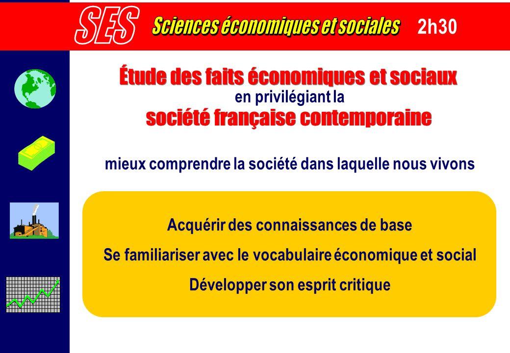 2h30 Étude des faits économiques et sociaux Acquérir des connaissances de base Se familiariser avec le vocabulaire économique et social Développer son
