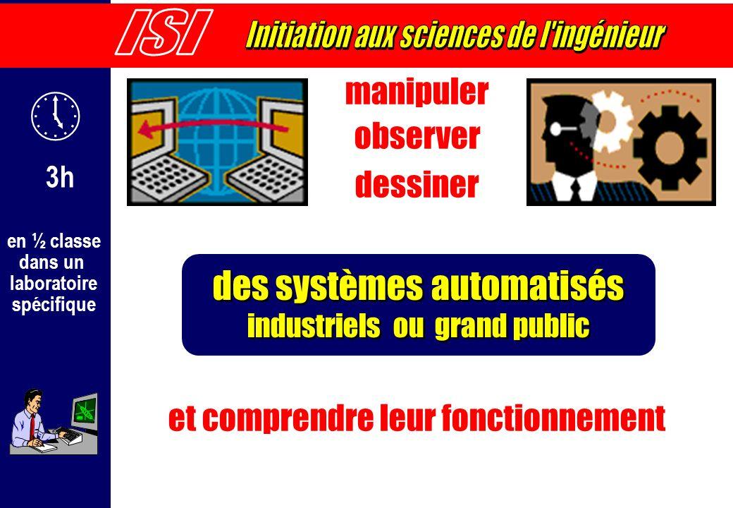 en ½ classe dans un laboratoire spécifique manipuler observer dessiner et comprendre leur fonctionnement des systèmes automatisés industriels ou grand