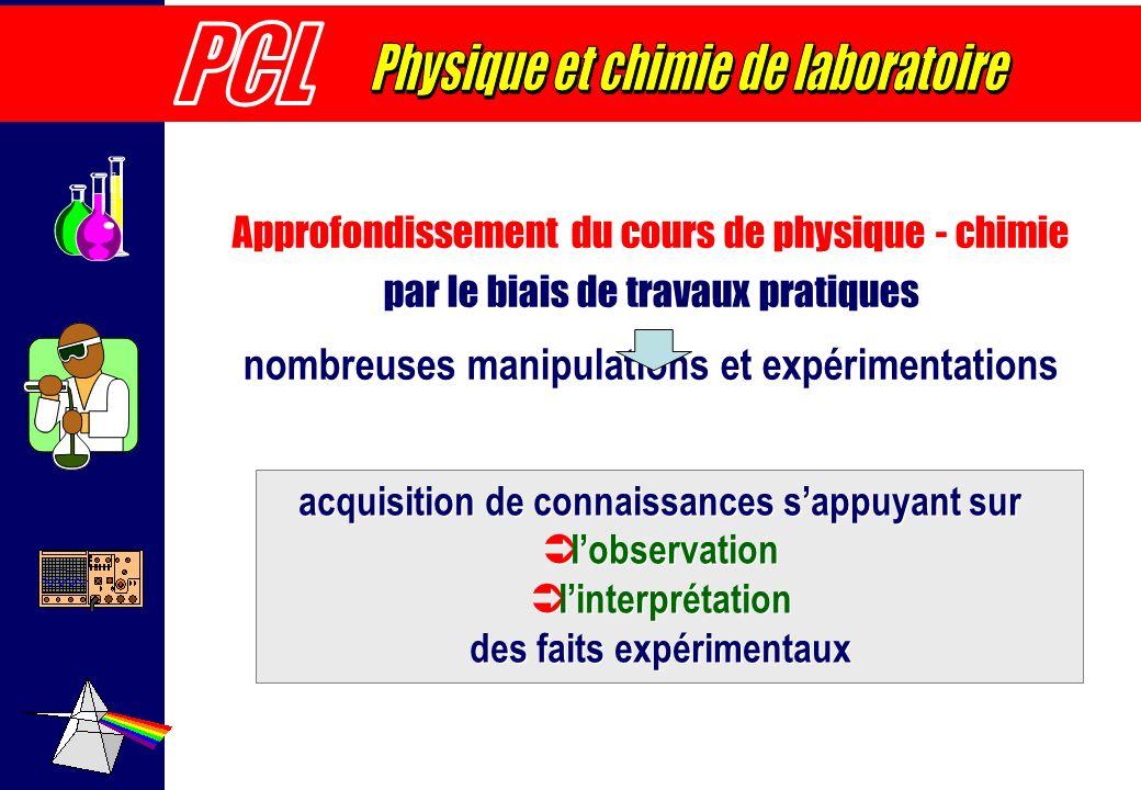 Approfondissement du cours de physique - chimie par le biais de travaux pratiques nombreuses manipulations et expérimentations acquisition de connaiss