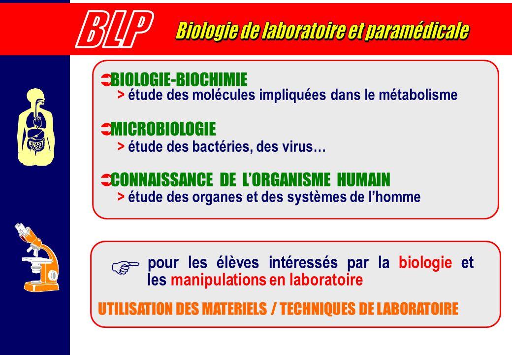 pour les élèves intéressés par la biologie et les manipulations en laboratoire BIOLOGIE-BIOCHIMIE > étude des molécules impliquées dans le métabolisme