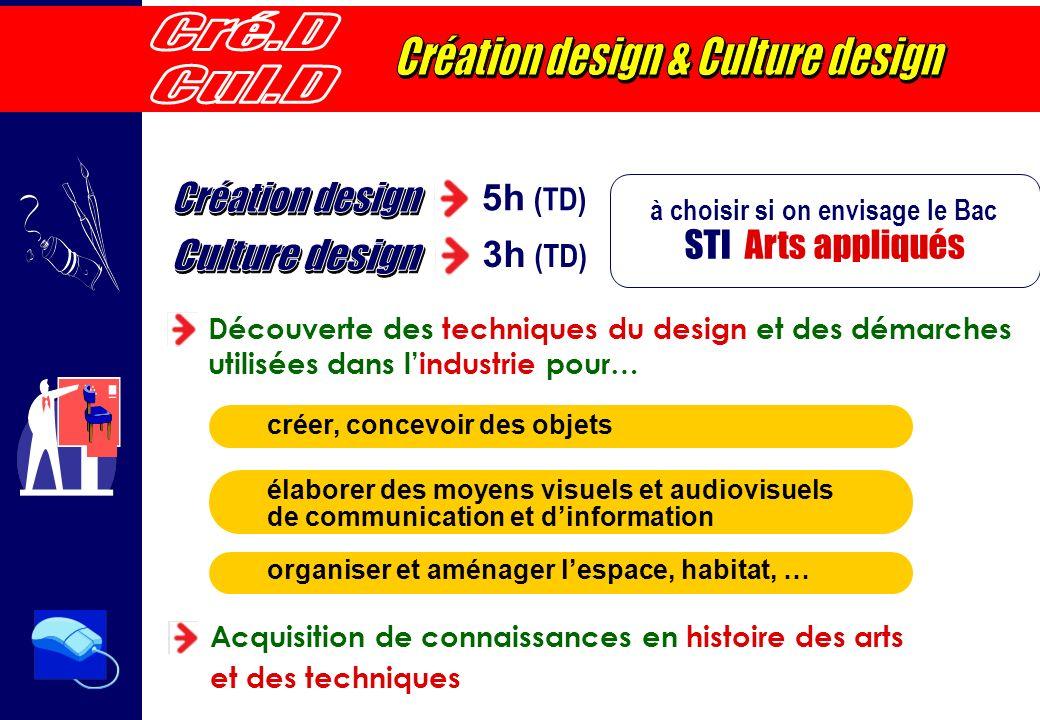 5h (TD) 3h (TD) à choisir si on envisage le Bac STI Arts appliqués organiser et aménager lespace, habitat, … créer, concevoir des objets élaborer des