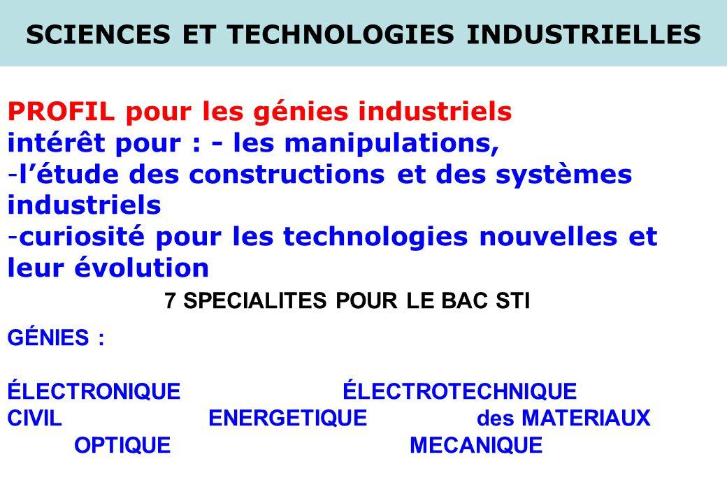 SCIENCES ET TECHNOLOGIES INDUSTRIELLES PROFIL pour les génies industriels intérêt pour : - les manipulations, -létude des constructions et des système