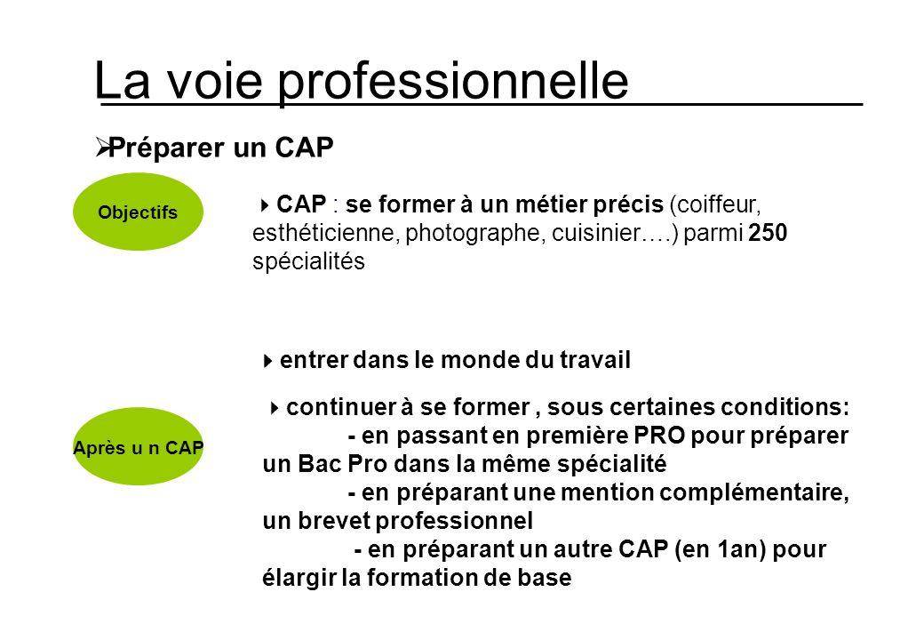 La voie professionnelle Préparer un CAP Objectifs Après u n CAP CAP : se former à un métier précis (coiffeur, esthéticienne, photographe, cuisinier….)
