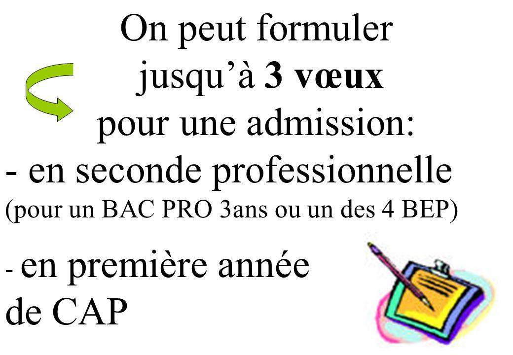 On peut formuler jusquà 3 vœux pour une admission: - en seconde professionnelle (pour un BAC PRO 3ans ou un des 4 BEP) - en première année de CAP