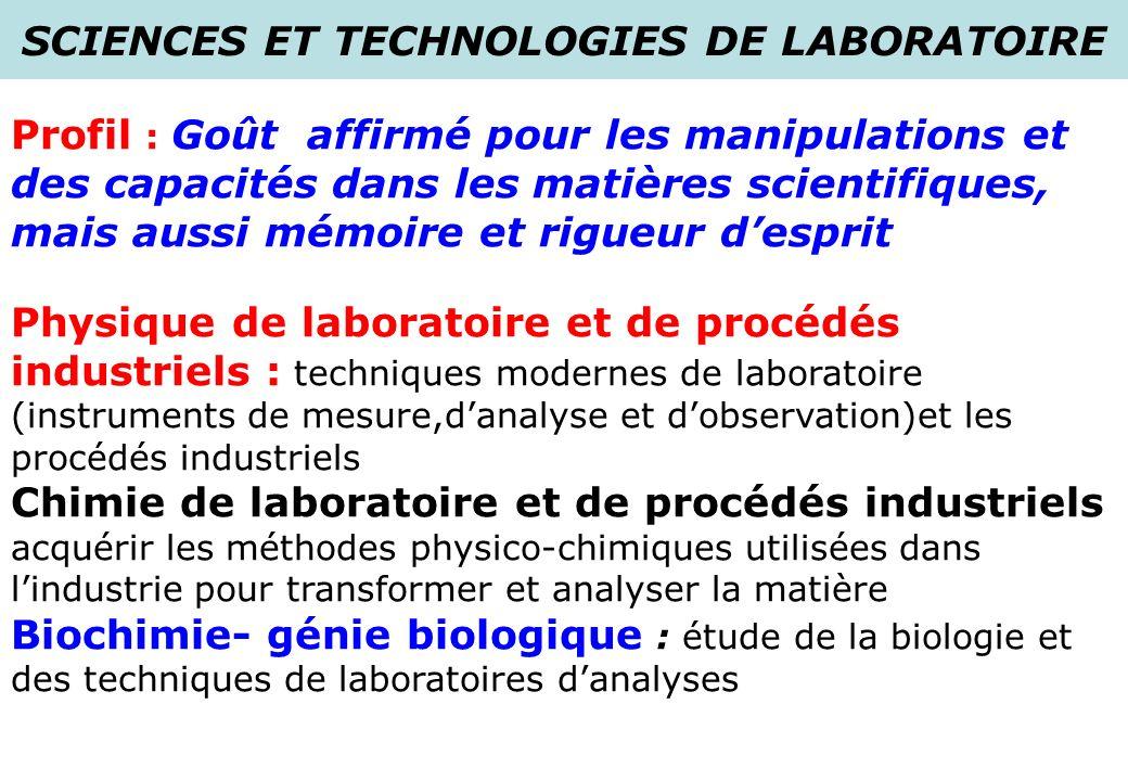 SCIENCES ET TECHNOLOGIES DE LABORATOIRE Profil : Goût affirmé pour les manipulations et des capacités dans les matières scientifiques, mais aussi mémo