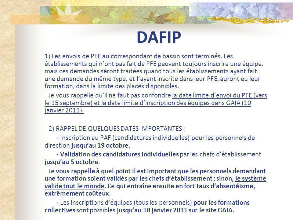 3) FORMATIONS DE BASSIN prévues : Deux formations déquipe pour les personnels dencadrement : sinscrire dans GAIA 10A0020724JR -21475CONNAISSANCE JURIDIQUE 10A0020722MG -21545ENTRETIEN DEVALUATION 10A0020029PO -201174PO-QUESTIONS DORIENTATION -INDIV.PARCOURS - Formations des nouveaux PP de 4ème - Formations des nouveaux PP de 3ème Il faudra prévoir les inscriptions déquipes en deux vagues La formation en Anglais pourra probablement se mettre en place pour un niveau 2.