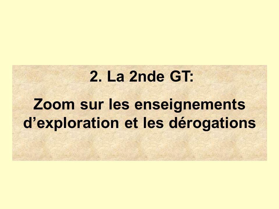 2. La 2nde GT: Zoom sur les enseignements dexploration et les dérogations