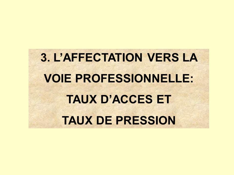 3. LAFFECTATION VERS LA VOIE PROFESSIONNELLE: TAUX DACCES ET TAUX DE PRESSION