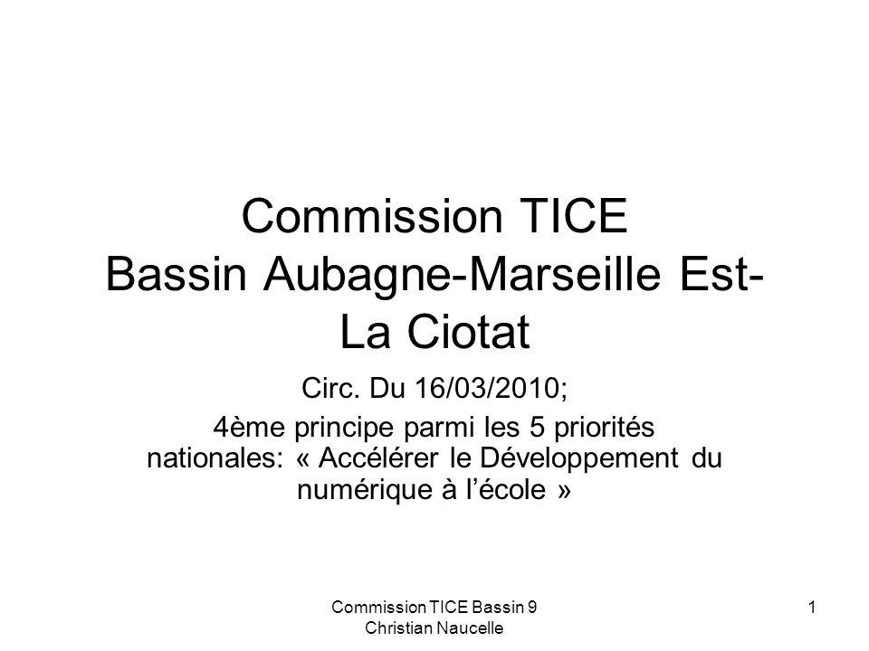 Commission TICE Bassin 9 Christian Naucelle 1 Commission TICE Bassin Aubagne-Marseille Est- La Ciotat Circ.
