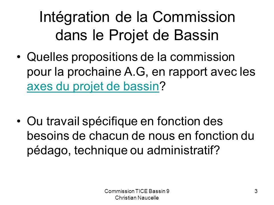 Commission TICE Bassin 9 Christian Naucelle 3 Intégration de la Commission dans le Projet de Bassin Quelles propositions de la commission pour la prochaine A.G, en rapport avec les axes du projet de bassin.