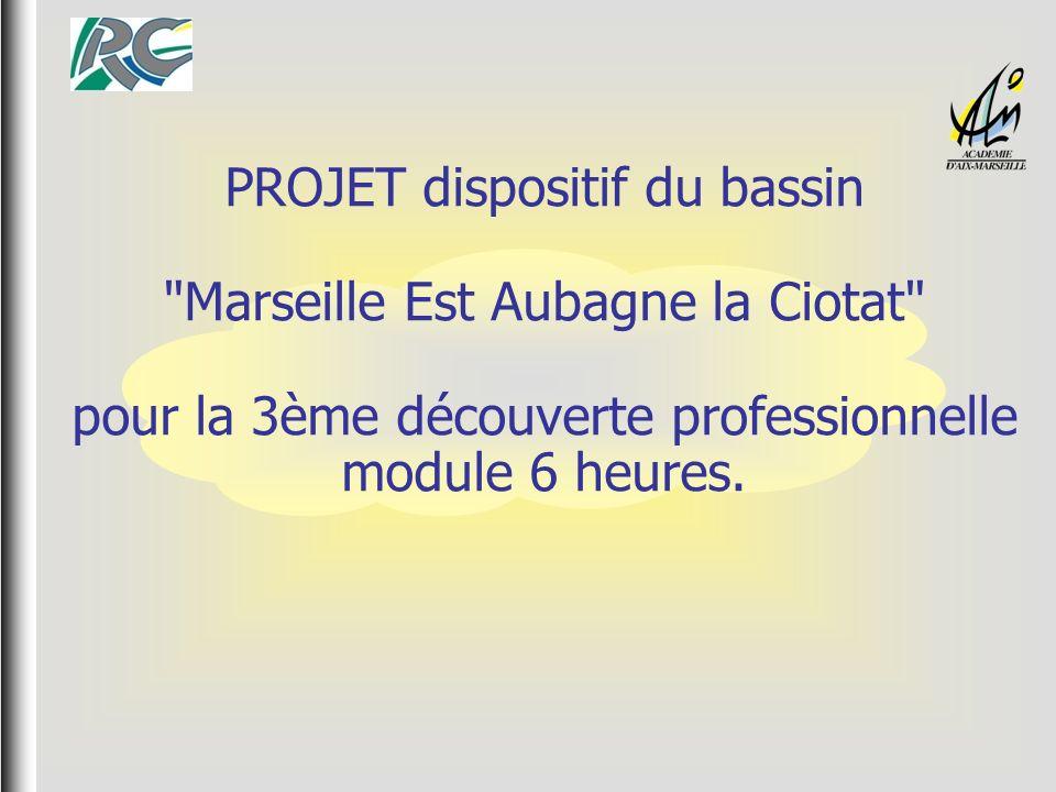 PROJET dispositif du bassin Marseille Est Aubagne la Ciotat pour la 3ème découverte professionnelle module 6 heures.