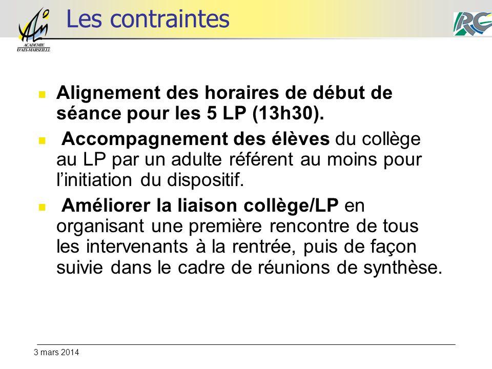 3 mars 2014 Les contraintes Alignement des horaires de début de séance pour les 5 LP (13h30).