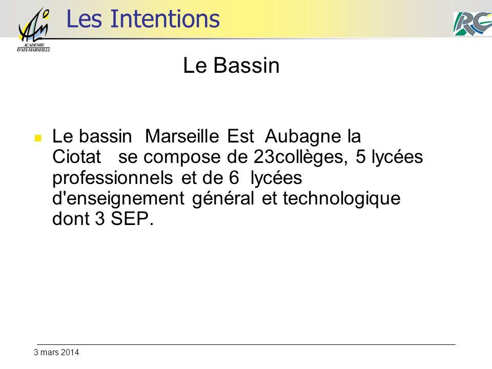 3 mars 2014 Les Intentions Le bassin Marseille Est Aubagne la Ciotat se compose de 23collèges, 5 lycées professionnels et de 6 lycées d enseignement général et technologique dont 3 SEP.