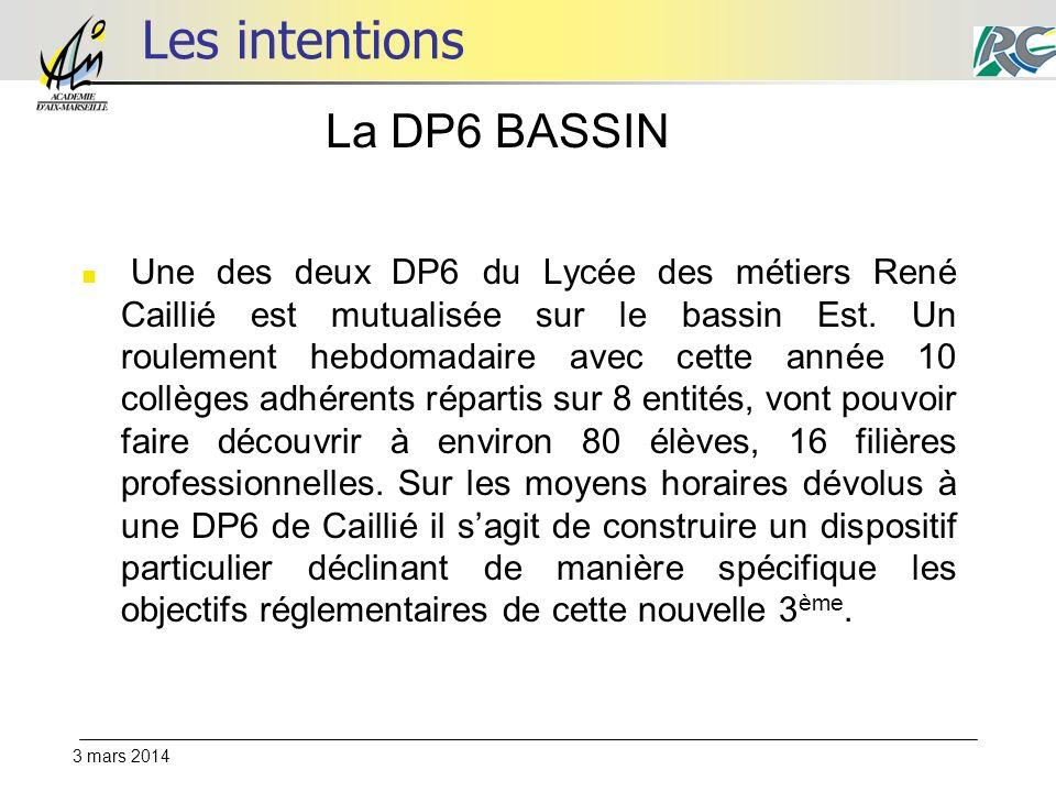 3 mars 2014 Les intentions Une des deux DP6 du Lycée des métiers René Caillié est mutualisée sur le bassin Est. Un roulement hebdomadaire avec cette a