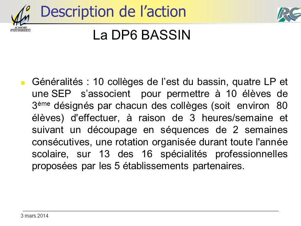 3 mars 2014 Description de laction La DP6 BASSIN Généralités : 10 collèges de lest du bassin, quatre LP et une SEPsassocient pour permettre à 10 élève