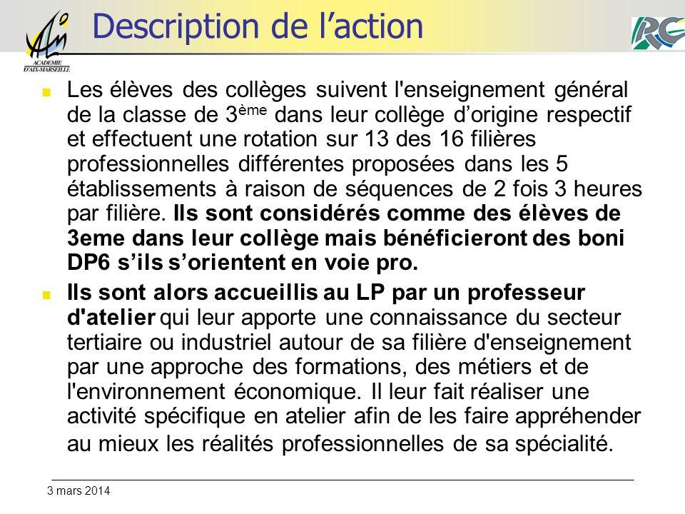 3 mars 2014 Description de laction Les élèves des collèges suivent l'enseignement général de la classe de 3 ème dans leur collège dorigine respectif e