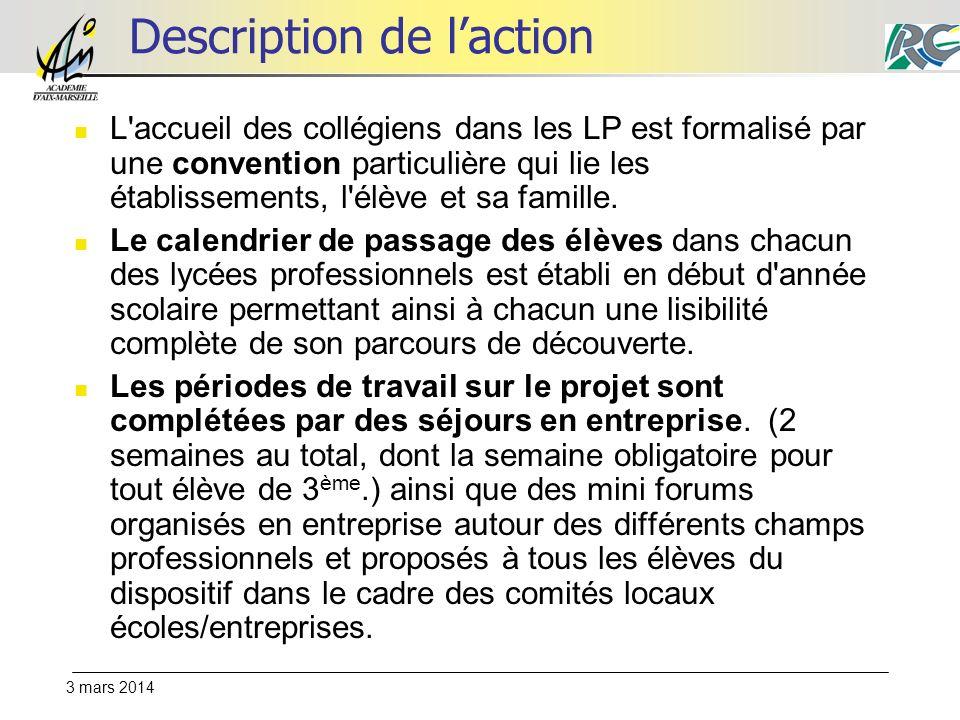 3 mars 2014 Description de laction L'accueil des collégiens dans les LP est formalisé par une convention particulière qui lie les établissements, l'él