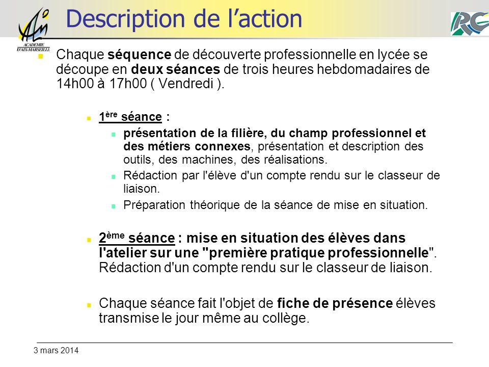 3 mars 2014 Description de laction Chaque séquence de découverte professionnelle en lycée se découpe en deux séances de trois heures hebdomadaires de 14h00 à 17h00 ( Vendredi ).
