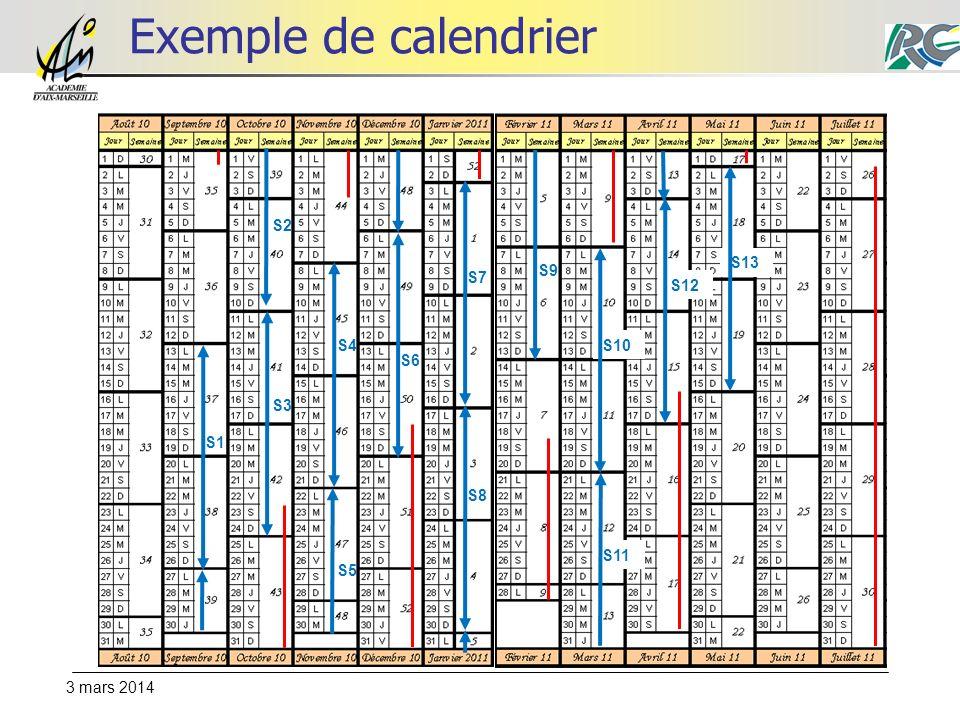 3 mars 2014 Exemple de calendrier S1 S2 S3 S4 S5 S6 S7 S8 S9 S10 S11 S12 S13