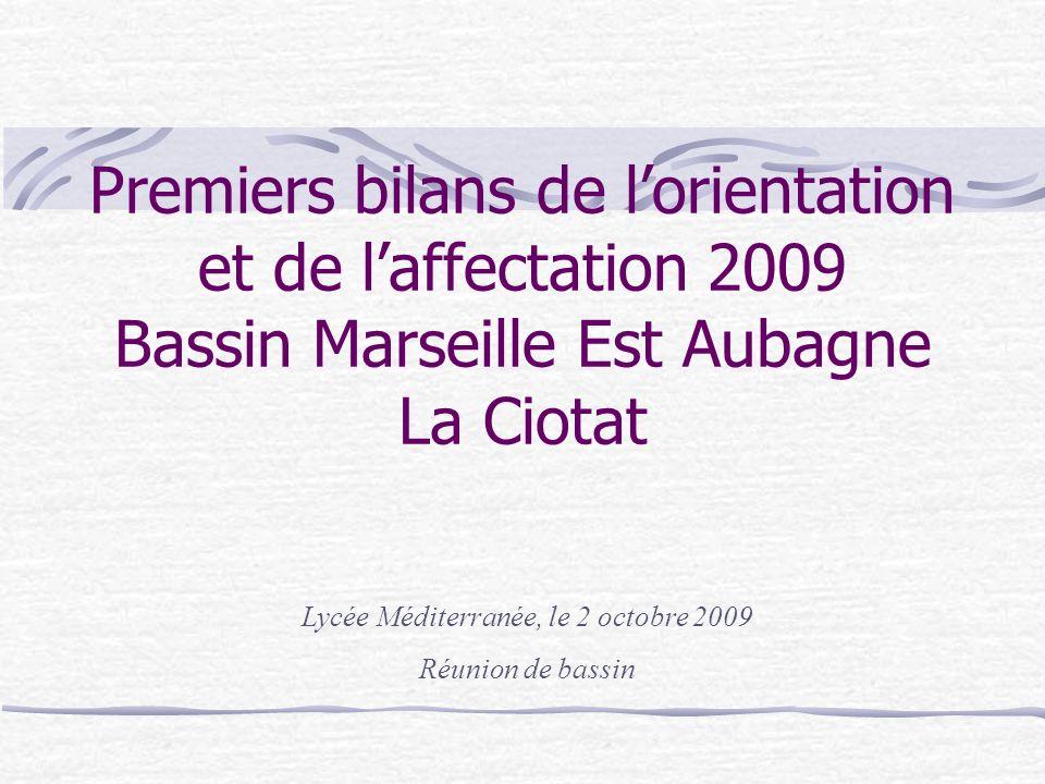 Premiers bilans de lorientation et de laffectation 2009 Bassin Marseille Est Aubagne La Ciotat Lycée Méditerranée, le 2 octobre 2009 Réunion de bassin