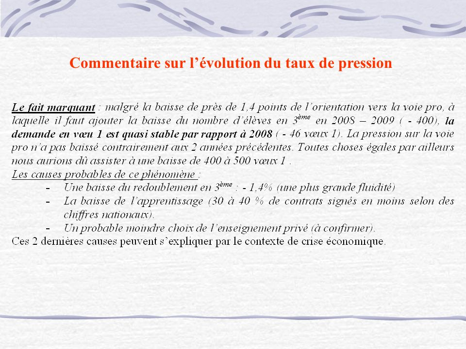 Commentaire sur lévolution du taux de pression