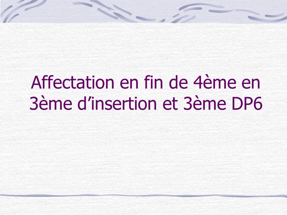 Affectation en fin de 4ème en 3ème dinsertion et 3ème DP6