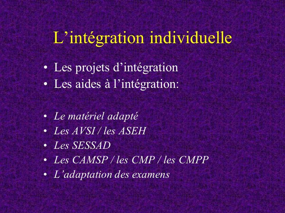 Lintégration individuelle Les projets dintégration Les aides à lintégration: Le matériel adapté Les AVSI / les ASEH Les SESSAD Les CAMSP / les CMP / les CMPP Ladaptation des examens
