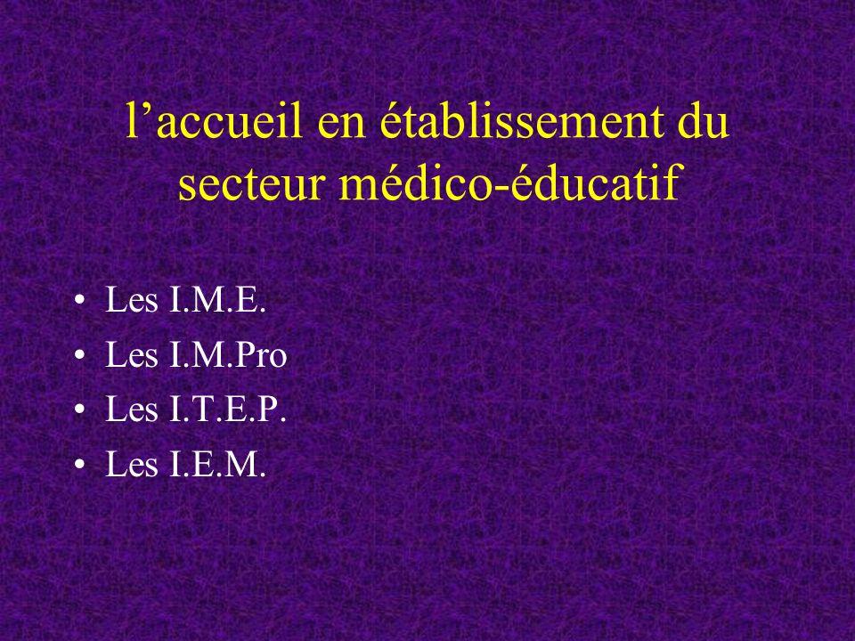 laccueil en établissement du secteur médico-éducatif Les I.M.E. Les I.M.Pro Les I.T.E.P. Les I.E.M.