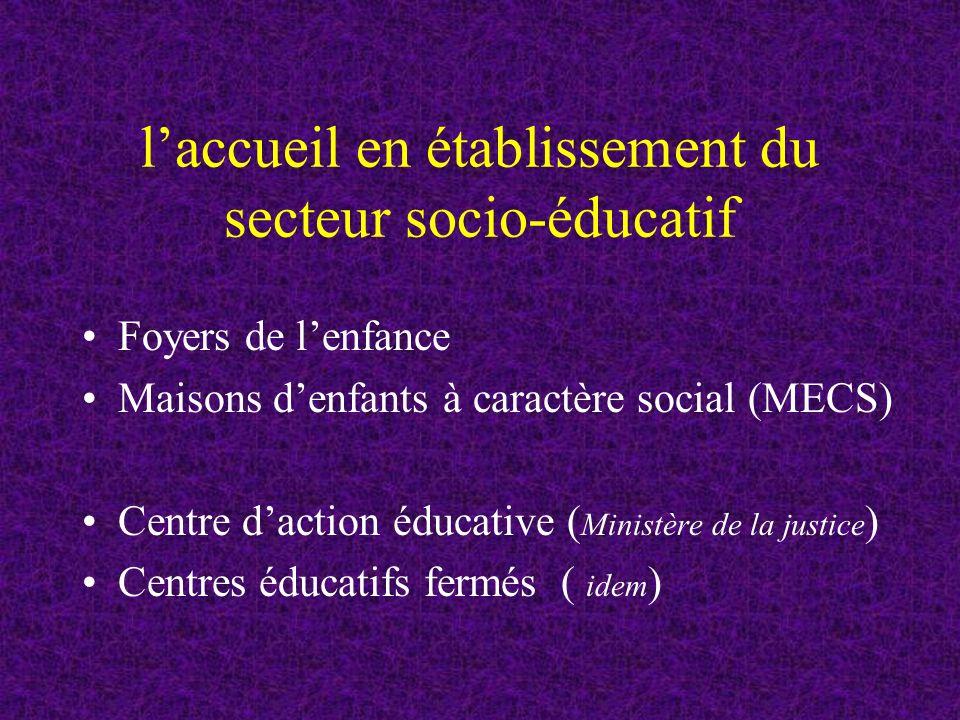 laccueil en établissement du secteur socio-éducatif Foyers de lenfance Maisons denfants à caractère social (MECS) Centre daction éducative ( Ministère de la justice ) Centres éducatifs fermés ( idem )