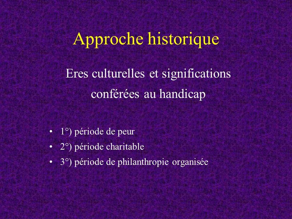 Approche historique Eres culturelles et significations conférées au handicap 1°) période de peur 2°) période charitable 3°) période de philanthropie organisée