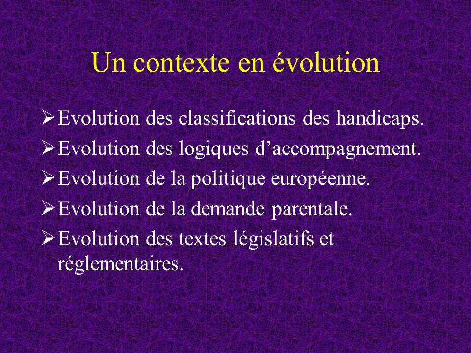 Un contexte en évolution Evolution des classifications des handicaps.