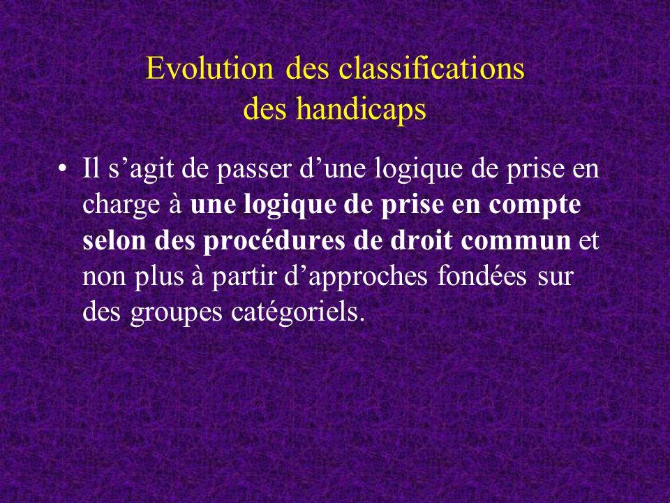 Evolution des classifications des handicaps Il sagit de passer dune logique de prise en charge à une logique de prise en compte selon des procédures de droit commun et non plus à partir dapproches fondées sur des groupes catégoriels.