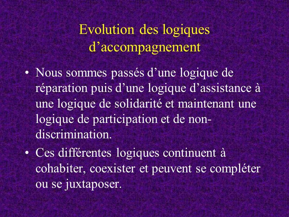 Evolution des logiques daccompagnement Nous sommes passés dune logique de réparation puis dune logique dassistance à une logique de solidarité et maintenant une logique de participation et de non- discrimination.