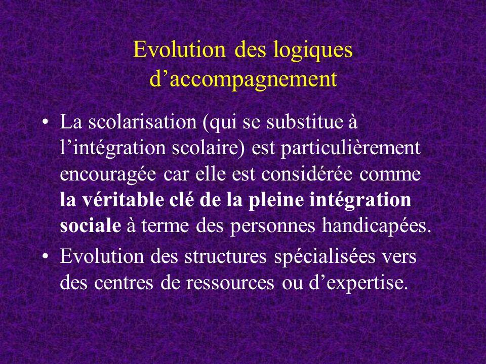 Evolution des logiques daccompagnement La scolarisation (qui se substitue à lintégration scolaire) est particulièrement encouragée car elle est considérée comme la véritable clé de la pleine intégration sociale à terme des personnes handicapées.