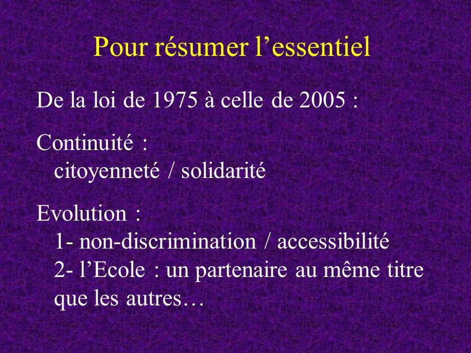 Pour résumer lessentiel De la loi de 1975 à celle de 2005 : Continuité : citoyenneté / solidarité Evolution : 1- non-discrimination / accessibilité 2- lEcole : un partenaire au même titre que les autres…