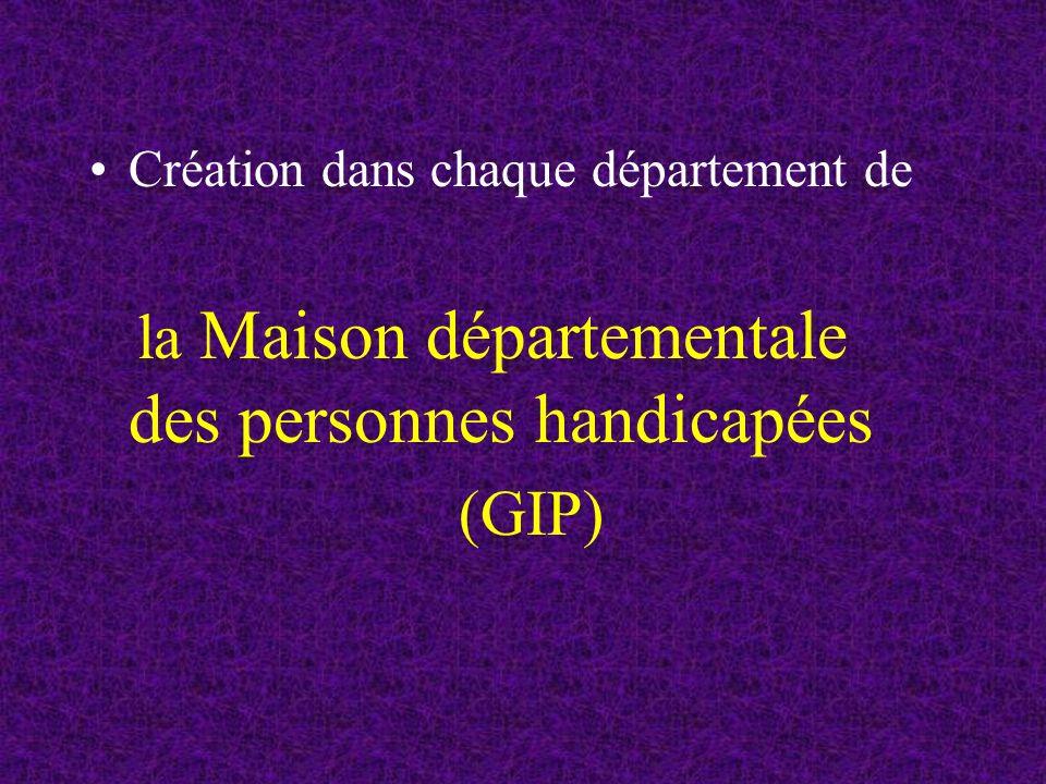 Création dans chaque département de la Maison départementale des personnes handicapées (GIP)