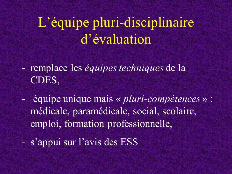 Léquipe pluri-disciplinaire dévaluation -remplace les équipes techniques de la CDES, - équipe unique mais « pluri-compétences » : médicale, paramédicale, social, scolaire, emploi, formation professionnelle, -sappui sur lavis des ESS