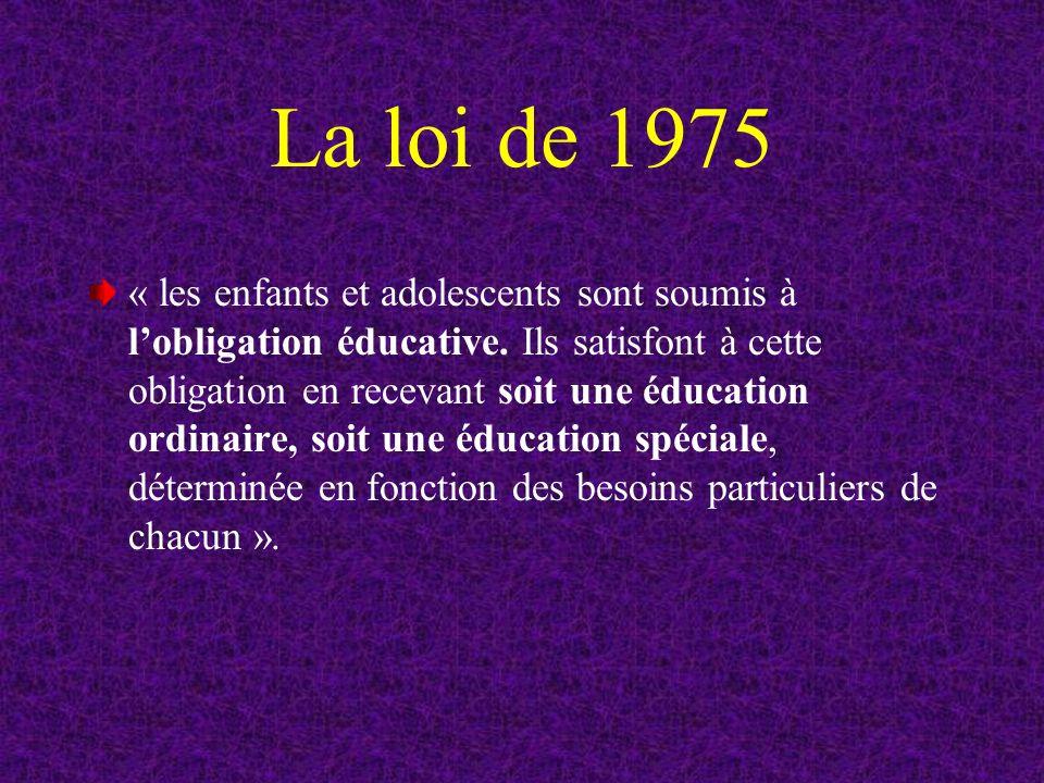 La loi de 1975 « les enfants et adolescents sont soumis à lobligation éducative.
