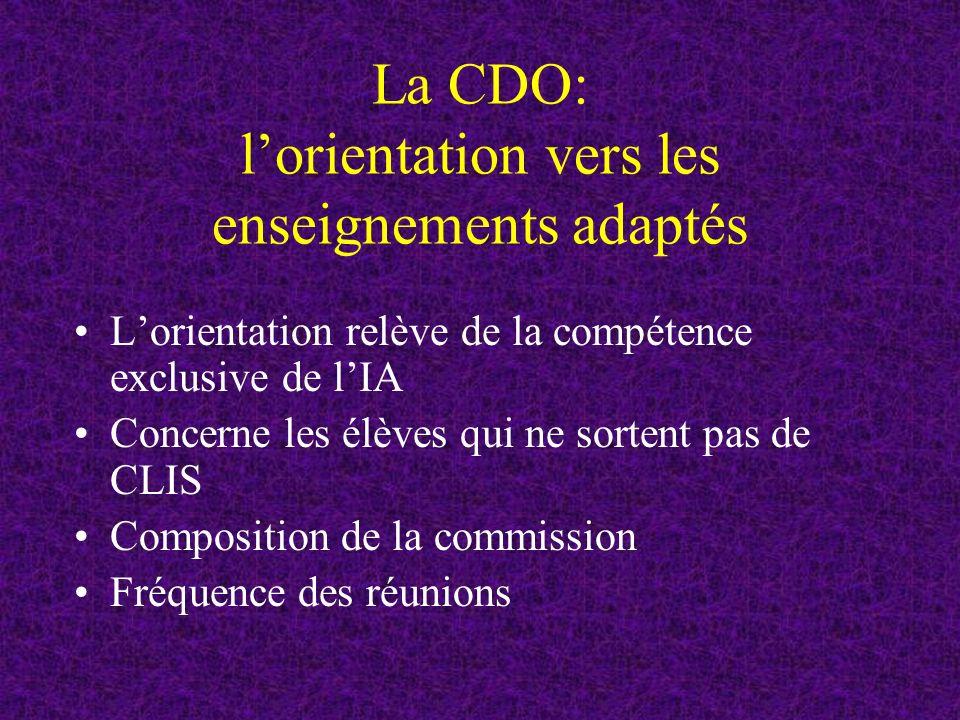 La CDO: lorientation vers les enseignements adaptés Lorientation relève de la compétence exclusive de lIA Concerne les élèves qui ne sortent pas de CLIS Composition de la commission Fréquence des réunions