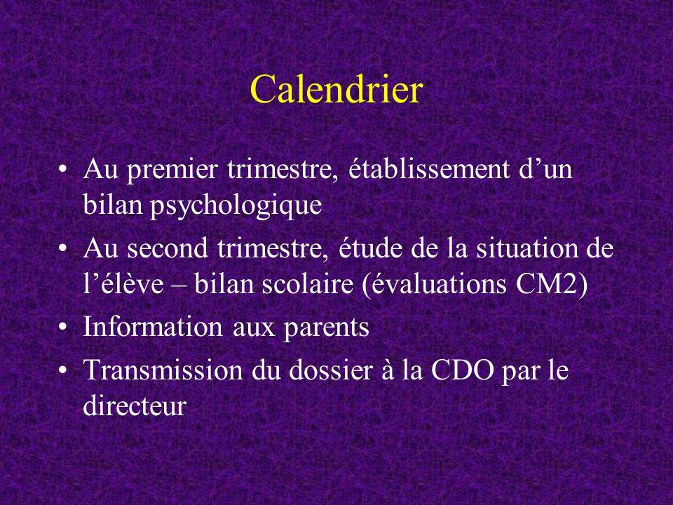 Calendrier Au premier trimestre, établissement dun bilan psychologique Au second trimestre, étude de la situation de lélève – bilan scolaire (évaluations CM2) Information aux parents Transmission du dossier à la CDO par le directeur