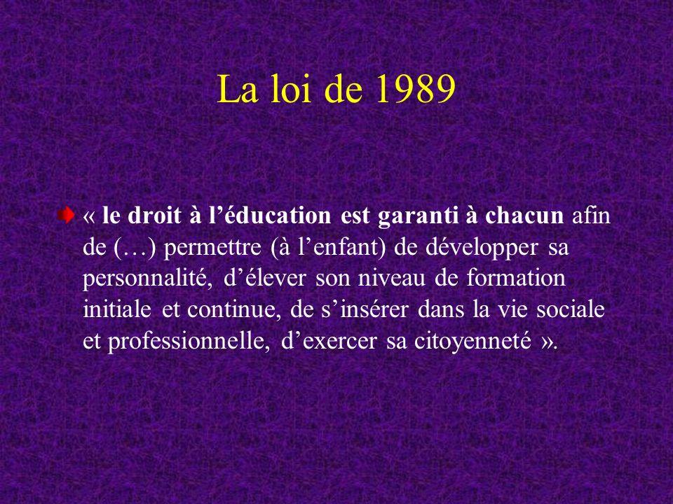 La loi de 1989 « le droit à léducation est garanti à chacun afin de (…) permettre (à lenfant) de développer sa personnalité, délever son niveau de formation initiale et continue, de sinsérer dans la vie sociale et professionnelle, dexercer sa citoyenneté ».